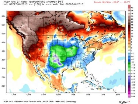 Record heat anomaly