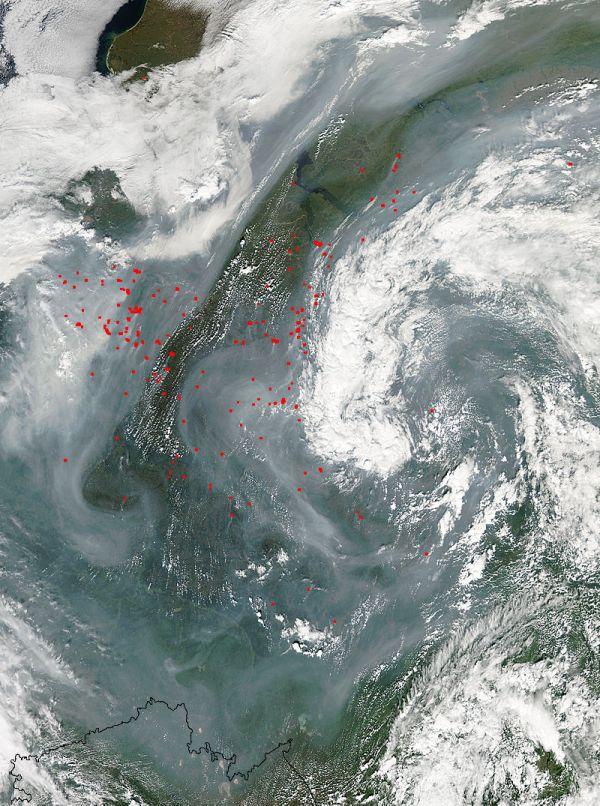 Massive wildfires, Russia