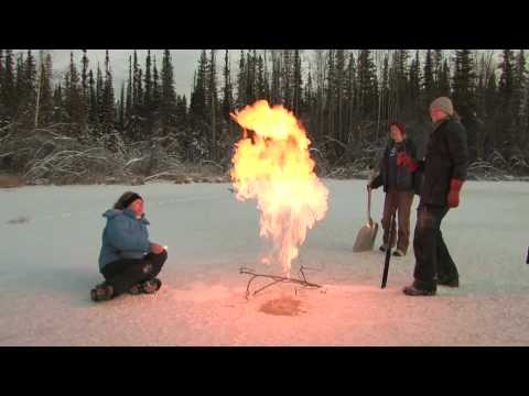 Methane released from melt lake, Arctic