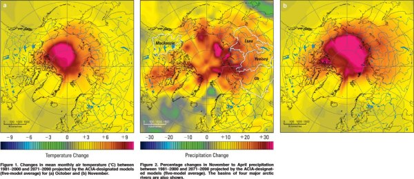 Projected temperature and precipitation change above the Arctic Circle.