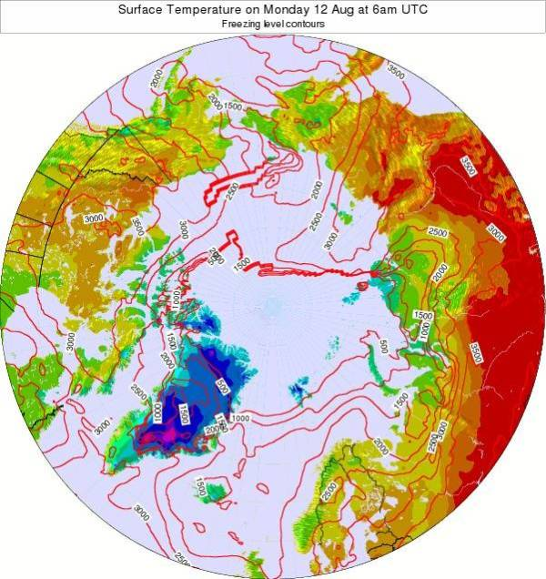Large swath of 77-86 degree temperatures predicted to remain over Arctic Russia on Monday, August 12.