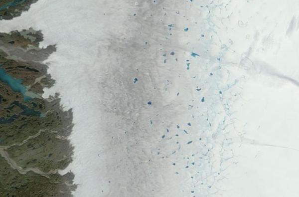 Greenland melt lakes, dark snow, August 4, 2013.