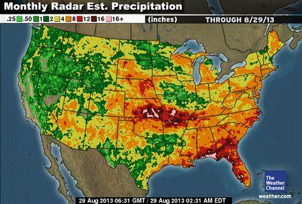 Monthly rainfall estimates August 2013.