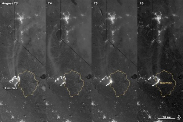 Yosemite Fire NASA Earth Observatory