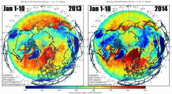 methane 2013 to 2014 January 1 to 10