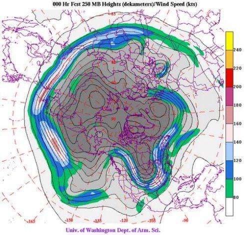 Polar Jet Stream Configuration January 8