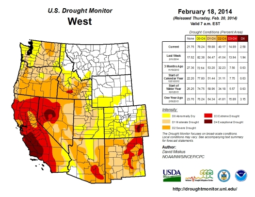 Drought monitor west February 18