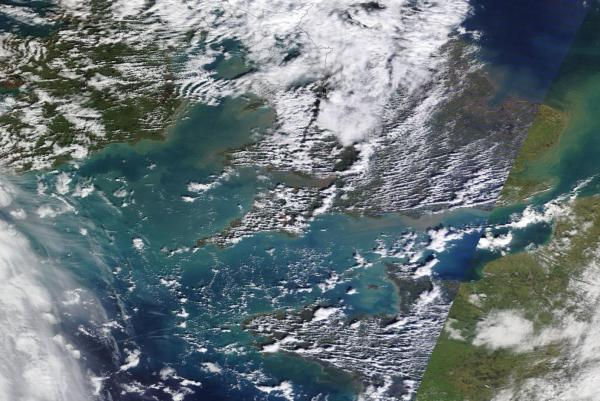Sediment outflow England France Storms