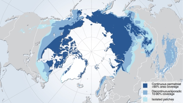 Area of contiguous permafrost