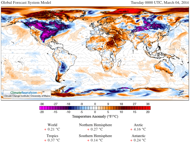Global Temp amomaly March 4