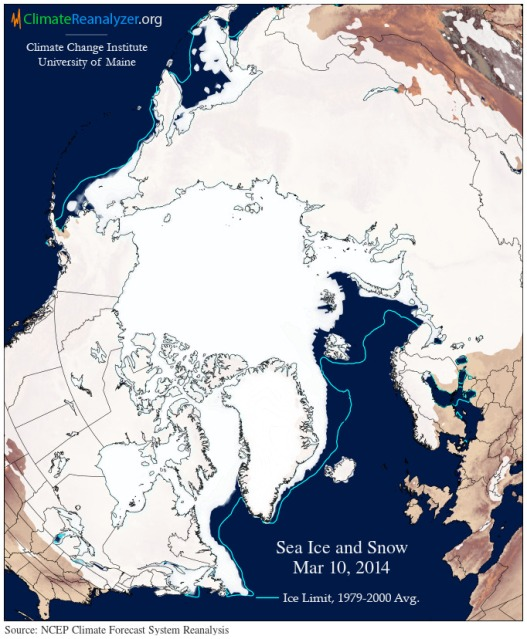 record low sea ice cover March 10