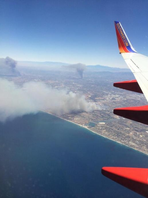 Aerial Photo of three fires in San Diego on Wednesday