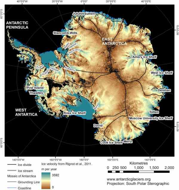 Antarctica glacial velocity map