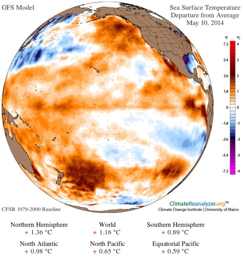 Ocean heat anomaly May 10 2014
