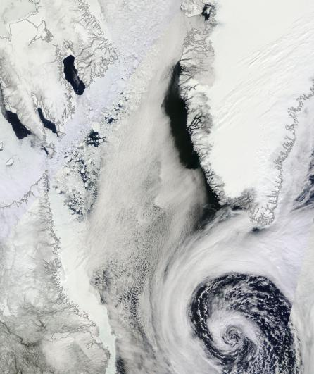 Storm off Greenland and Newfoundland