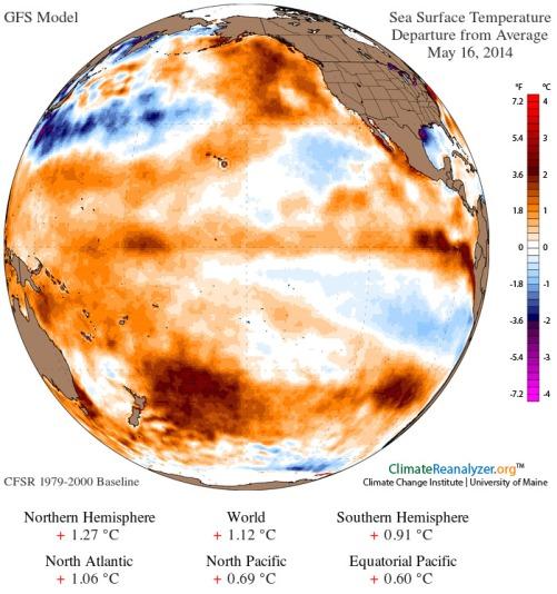 Today's GFS Model Summary of Sea Surface Temp Anomalies
