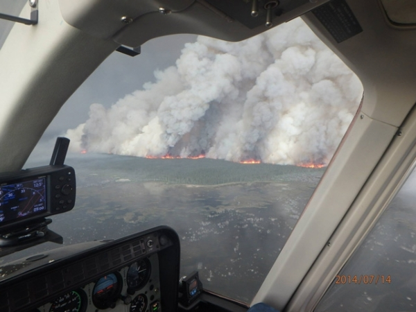 Aerial close-up of Birch Creek Fire complex