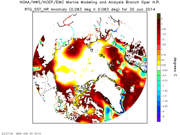 Arctic SST Heat Anomaly For June 30