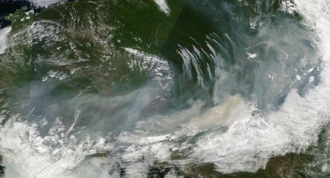 Massive plume of smoke from Siberian Wildfires expands to cover more than 2,500 miles