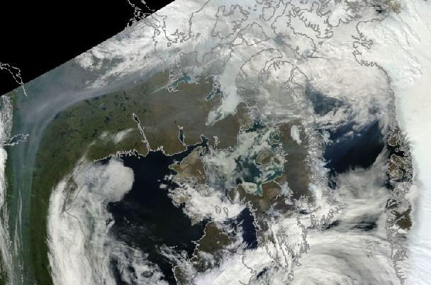 Smoke streaming over Canadian Archipelago and Northwestern Greenland