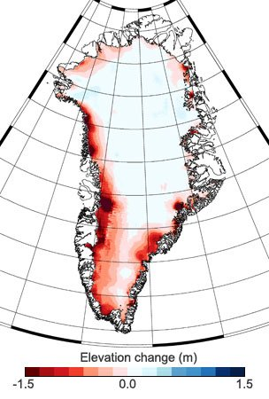 Greenland Ice Sheet Elevation Change