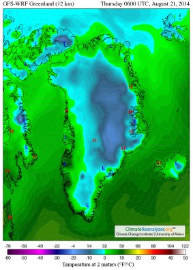 Greenland Temperatures August 21