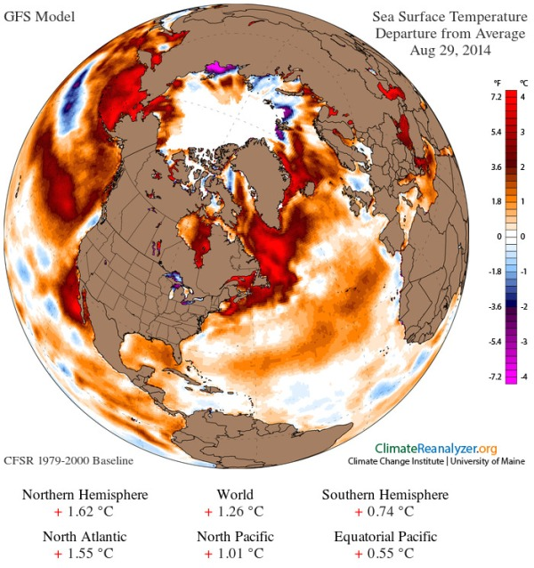 Sea Surface Temperature Anomaly global August 29, 2014