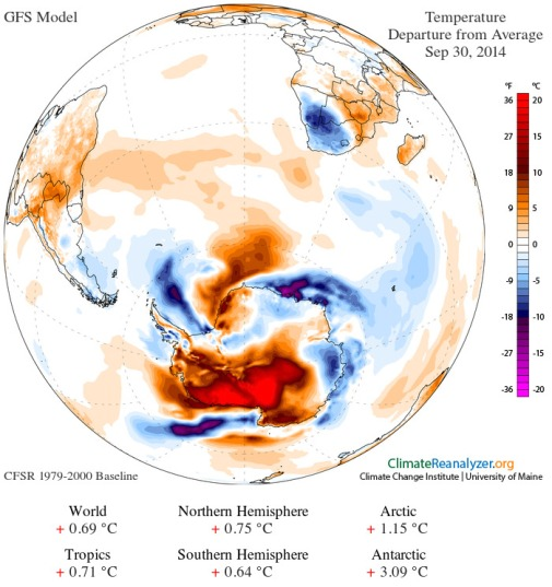 Extreme temperature anomaly over West Antarctica