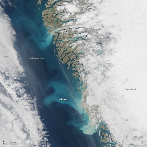 Sediment plumes from Greenland Sep 2014