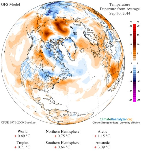 September 30 temperature anomaly