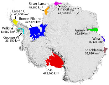 Major Antarctic Ice Shelves