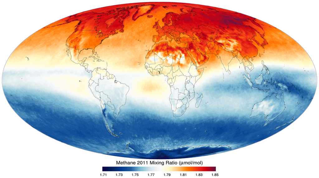 Globe showing Methane concentrations.