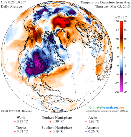 global surface temperature anomaly March 5