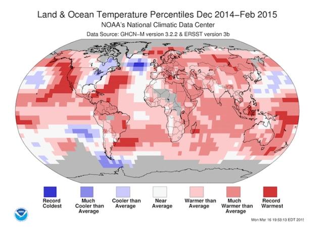 NOAA land ocean temperatuer anomalies