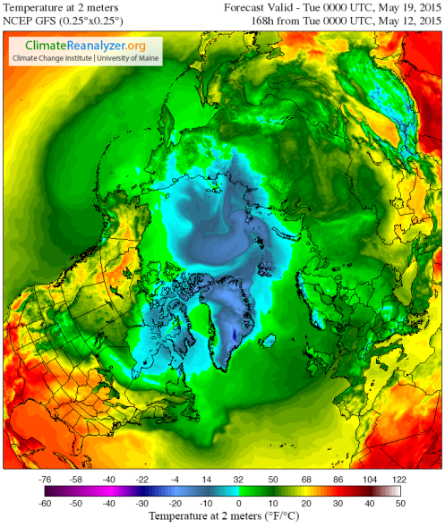 GFS 7 day Arctic Warmth