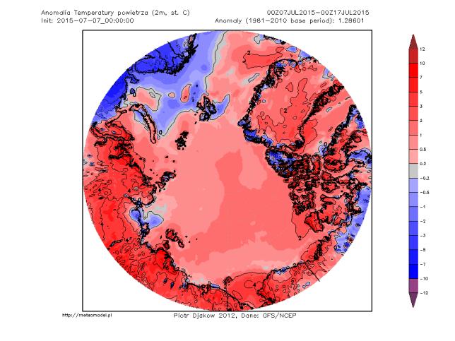 Arctic temperature anomaly