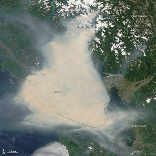 smoke plume Pacific Northwest