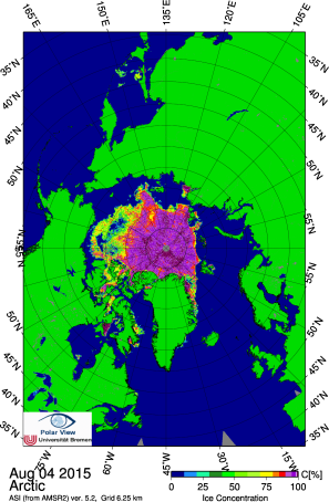 Arctic sea ice early August