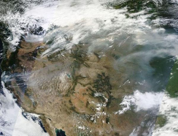 Massive Smoke Plume from Out of Control Northwest Wildfires