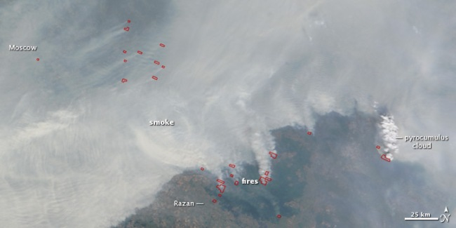 Wildfires and Pyrocumulous Clouds over Russia During the Great Heatwave of 2010