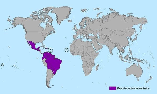 Countries with Reported Active Zika Transmission
