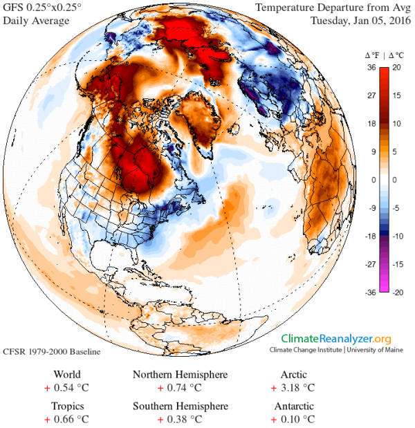 Extreme Arctic Warmth on January 5 2016