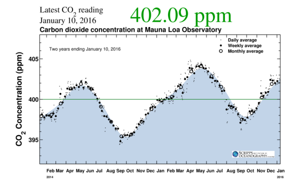 Mauna Loa 3 ppm CO2 increase december to december
