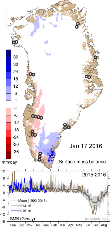 Western Greenland Melting in January