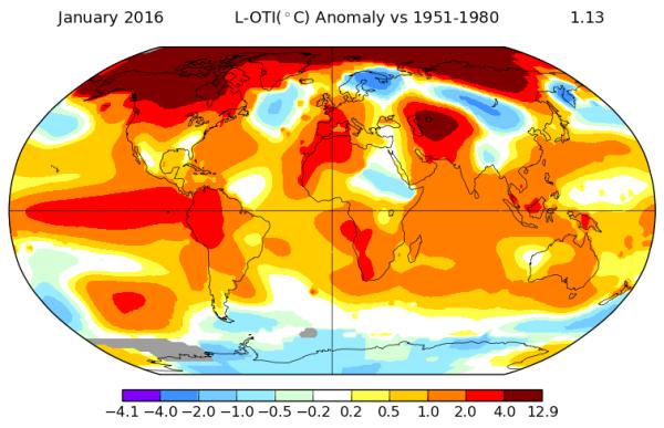 NASA Temperature Anomaly Map January 2016