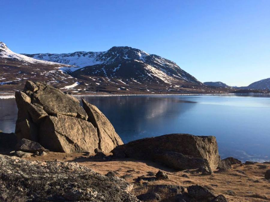 Open water and no snow in south Greenland on February 2, 2016