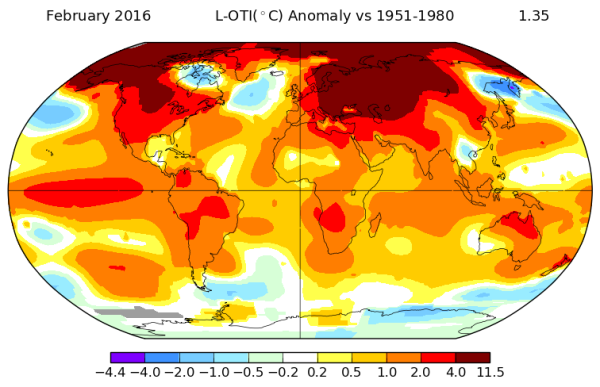NASA record Warm February
