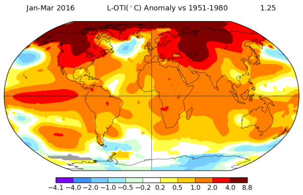 GISS Temperature Map First Quarter of 2016