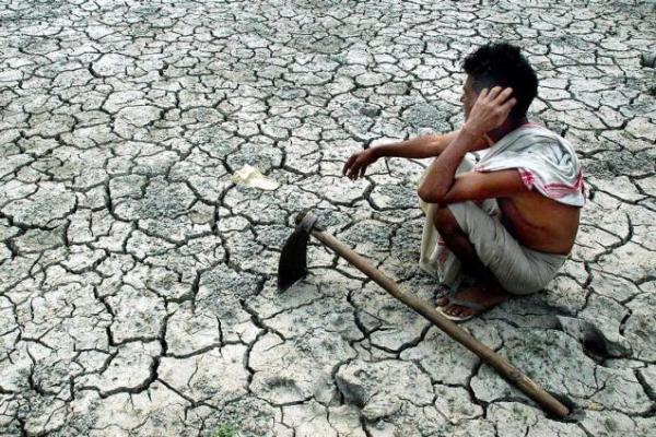 India Drought Baked and Bleached Riverbeds