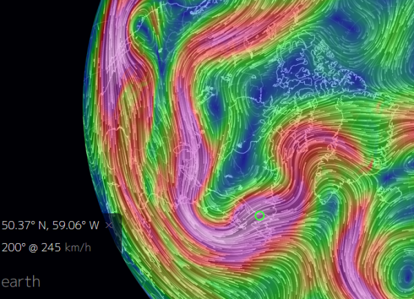 Warm, Southerly Winds Gust to Hurricane Force Over Greenland in